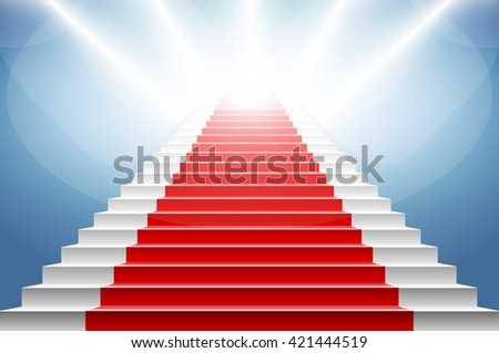 Stairs covered with red carpet. Scene illuminated by a spotlight art - stock vector