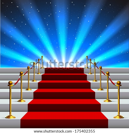 Stairs covered with red carpet to the universe - stock vector