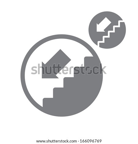 Stairs down vector simple single color icon isolated on white background, includes invert version for you to choose. - stock vector