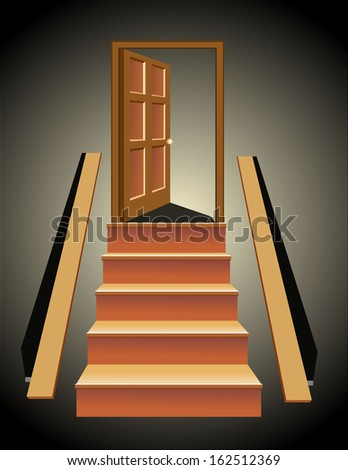 Stairs in up to an open door the leader to success - stock vector