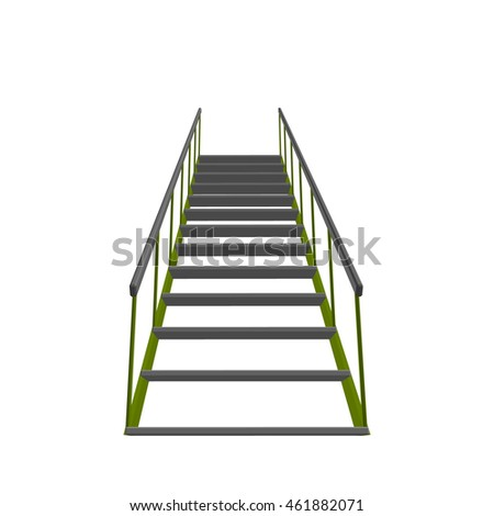 Stairs.Isolated on white background. 3d Vector illustration.Bottom view.