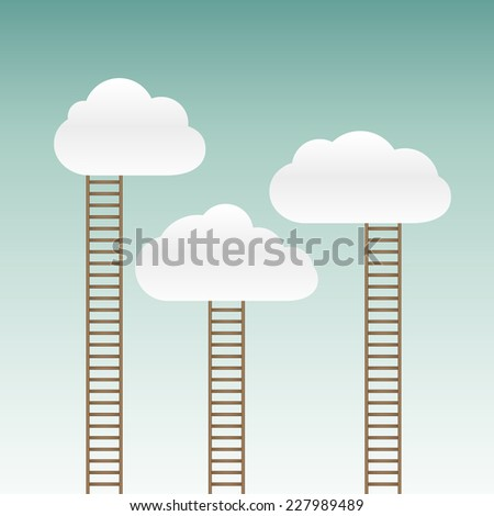 stairs leading to the clouds - stock vector