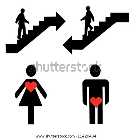 Stairs, man and woman signs