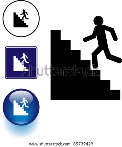 stairs symbol sign and button - stock vector