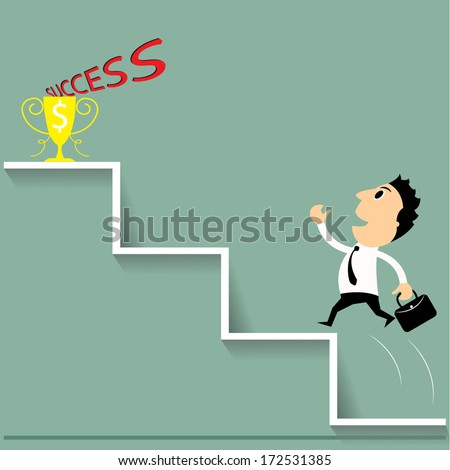 Stairs to success, Business man running or jumping on stairs to success. Vector - stock vector