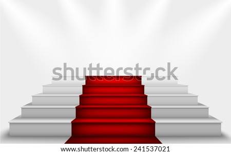 stairs to the podium with a red carpet - stock vector