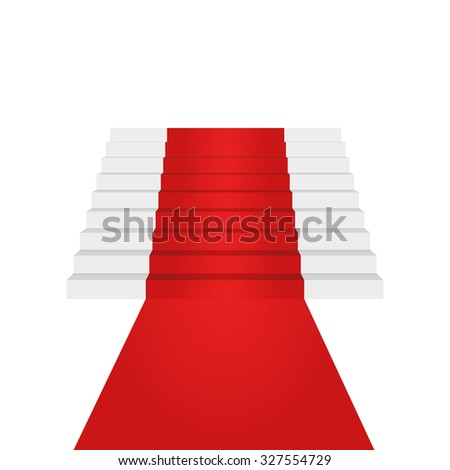 Stairs up design element. Red carpet. Background. Vector Illustration