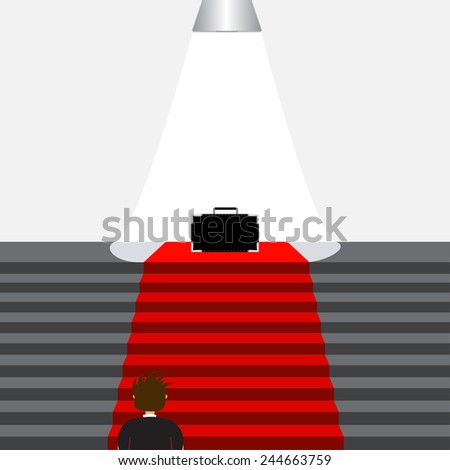 Stairs with red carpet. Stairway to Fame - stock vector