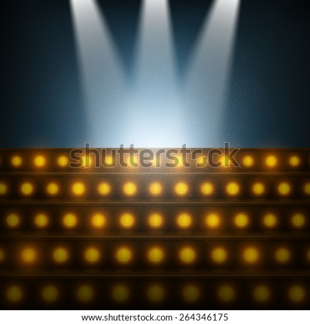 Stairs with Spotlights to Illuminated Stage. Vector Illustration. - stock vector