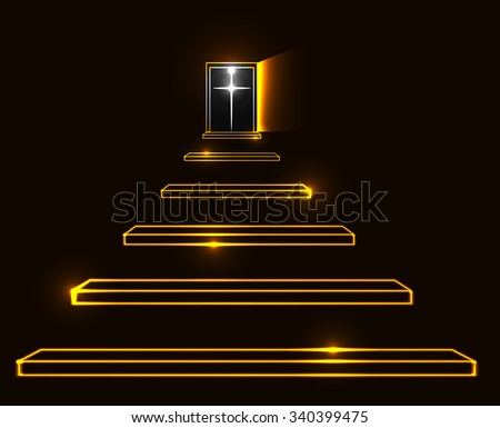 Stairway to heaven vector illustration. Death, resurrection and paradise concept - stock vector