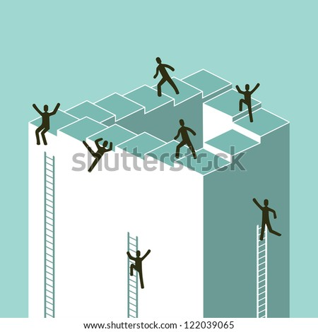 Stairway to success in business concept illustration. Vector file layered for easy manipulation and custom coloring. - stock vector