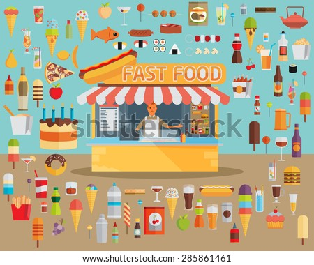 Stall sells fast food. Flat vector - stock vector