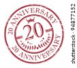 Stamp 20 anniversary, vector illustration - stock vector