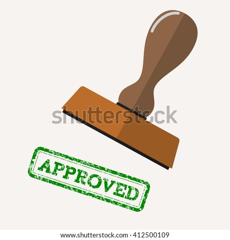 stamp approved in green text over white background.  vector illustration in flat design - stock vector