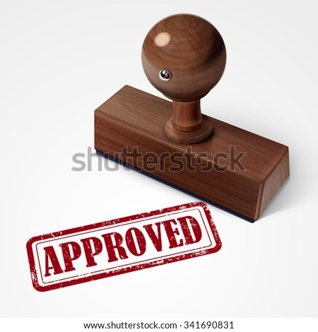 stamp approved in red over white background - stock vector