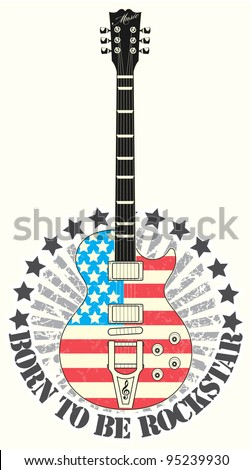 Stamp born to be rock star - stock vector