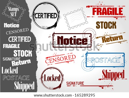Stamp collection for communication - stock vector