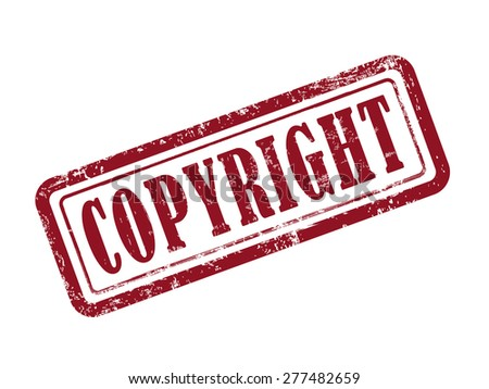 stamp copyright in red over white background - stock vector