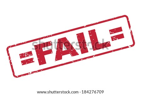stamp fail with red text over white background - stock vector