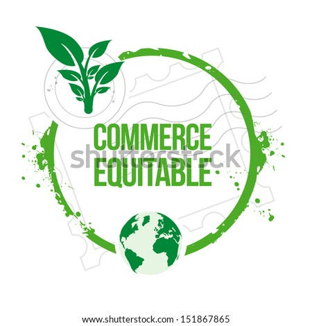 """stamp Fair trade """"Commerce Equitable"""" - stock vector"""