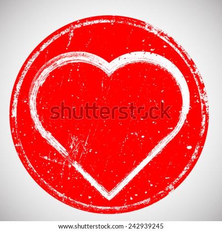 Stamp Heart , Valentine . Vector Illustration . Vintage Logo , Icon , Insignia or Label Design . Brush Drawing Retro Sign . - stock vector