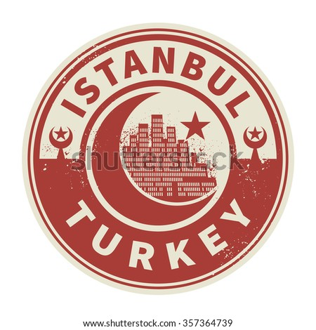Stamp or emblem with text Istanbul, Turkey inside, vector illustration