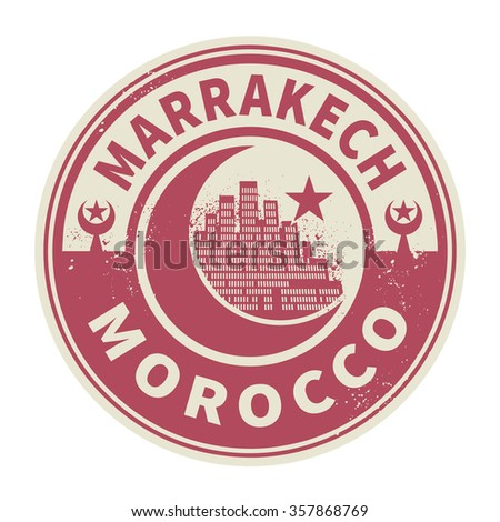 Stamp or emblem with text Marrakesh, Morocco inside, vector illustration