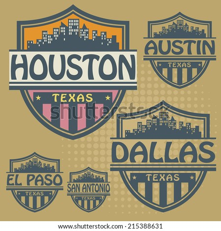 Stamp or label set with names of Texas cities, vector illustration - stock vector