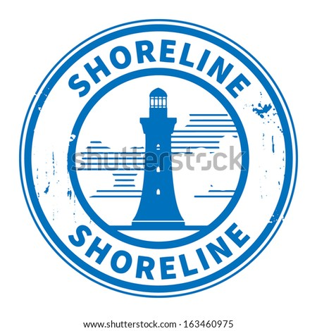 Stamp or label with Lighthouse silhouette and text Shoreline, vector illustration - stock vector
