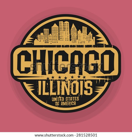 Stamp or label with name of Chicago, Illinois, vector illustration - stock vector