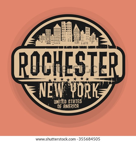 Stamp or label with name of Rochester, New York, vector illustration - stock vector
