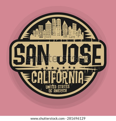 Stamp or label with name of San Jose, California, vector illustration - stock vector