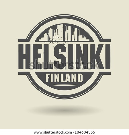 Stamp or label with text Helsinki, Finland inside, vector illustration - stock vector