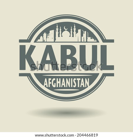Stamp or label with text Kabul, Afghanistan inside, vector illustration - stock vector