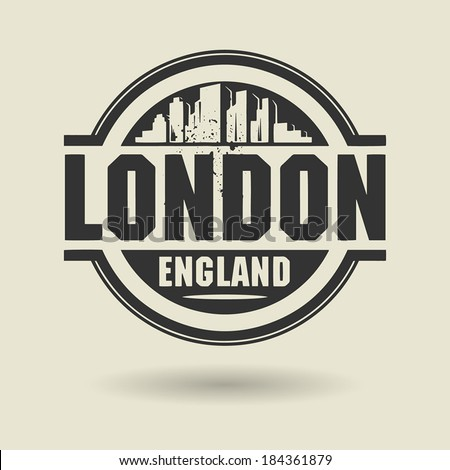 Stamp or label with text London, England inside, vector illustration - stock vector