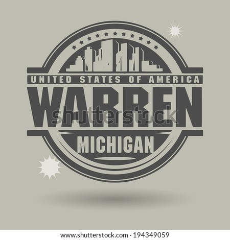 Stamp or label with text Warren, Michigan inside, vector illustration - stock vector