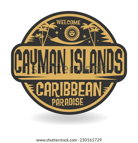 Stamp or label with the name of Cayman Islands, vector illustration - stock vector