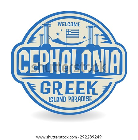 Stamp or label with the name of Cephalonia, Greek Island Paradise, vector illustration