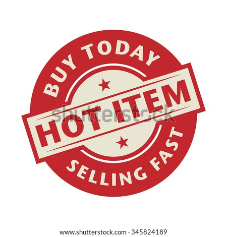 Stamp or label with the text Hot Item, Buy Today, vector illustration - stock vector