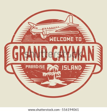 Stamp or label with the text Welcome to Grand Cayman, Paradise island, vector illustration.