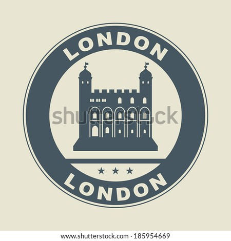 Stamp or label with word London inside, vector illustration - stock vector