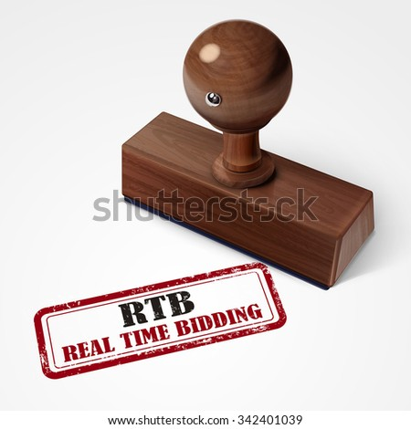 stamp real time bidding in red over white background - stock vector