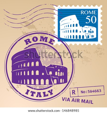 Stamp set with text Rome, Italy inside, vector illustration - stock vector