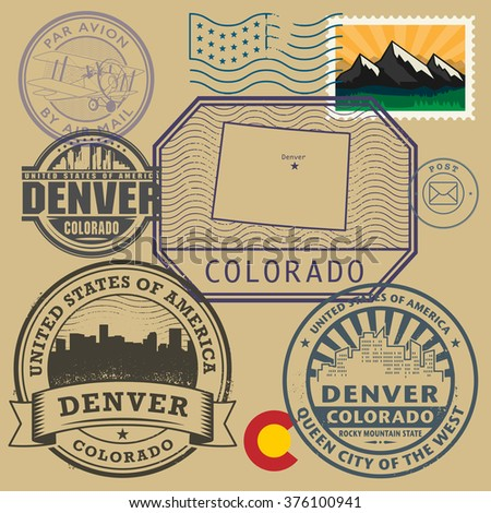 Stamp set with the name and map of Colorado, United States, vector illustration - stock vector