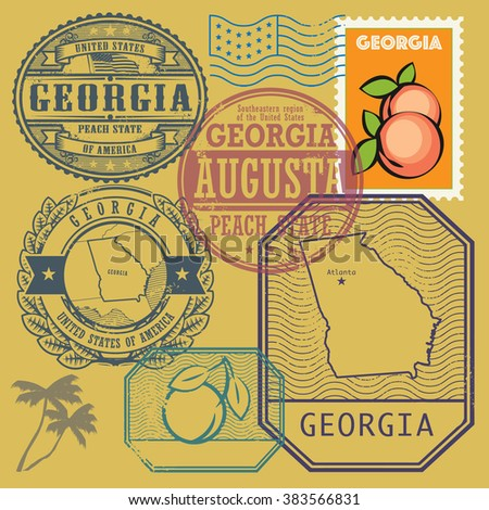 Stamp set with the name and map of Georgia, United States, vector illustration - stock vector