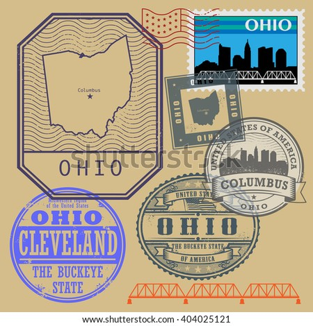 Stamp set with the name and map of Ohio, United States, vector illustration
