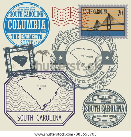 Stamp set with the name and map of South Carolina, United States, vector illustration