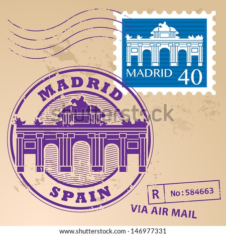 Stamp set with words Madrid, Spain inside, vector illustration - stock vector