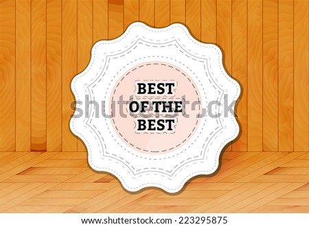 stamp, sticker, or label on wooden background - stock vector
