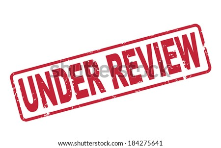 stamp under review with red text over white background - stock vector
